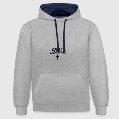 God Loves You - Contrast Colour Hoodie
