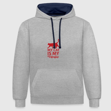 My cat is my valentine - Contrast Colour Hoodie