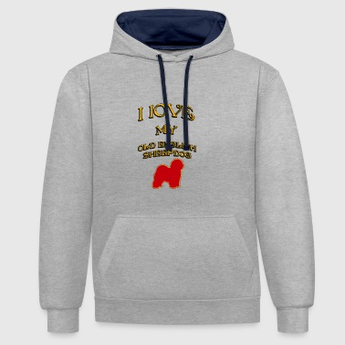 I LOVE MY DOG Old English Sheepdog - Contrast Colour Hoodie