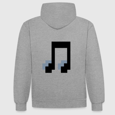 Pixel music note pixels funny image - Contrast Colour Hoodie
