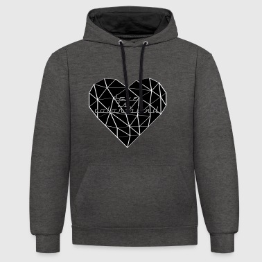 HEART TRIANGLE LOVE IS COLOR BLIND black - Contrast Colour Hoodie