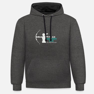 Recurve Recurve bow girl - Contrast Colour Hoodie