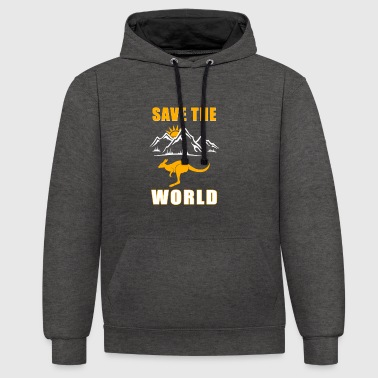 Save the World - Kangaroo II - Contrast Colour Hoodie
