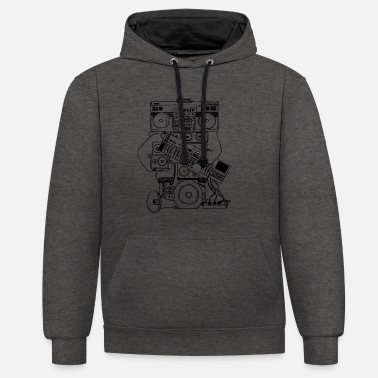 For Him HIP-HOP MAN - RAP - SWAG - Contrast Colour Hoodie