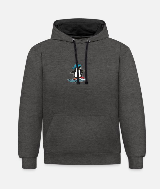 Water Hoodies & Sweatshirts - Water skiing gift skiing water sports water sports - Unisex Contrast Hoodie charcoal/black