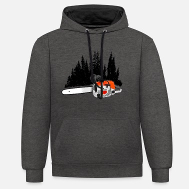 Chain Dein Forstbetrieb - Power saw & forest (Orange) - Unisex Contrast Hoodie