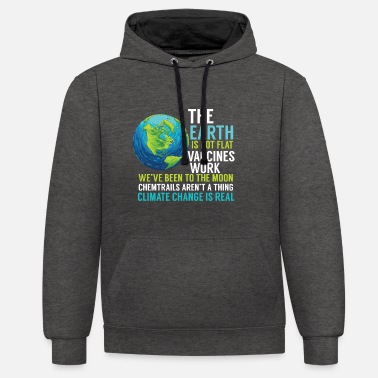 Politics Science instead of Fake Facts Gift Earth around - Unisex Contrast Hoodie