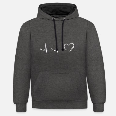 Heart Dog dog owner heartbeat dog heart - Unisex Contrast Hoodie