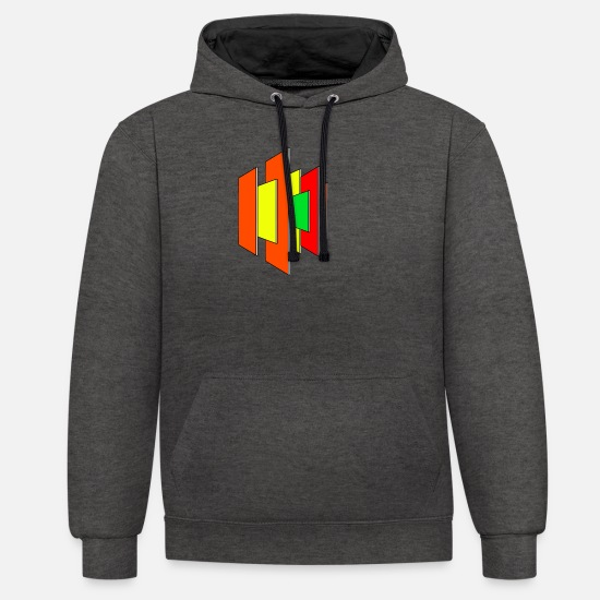 Formal Hoodies & Sweatshirts - Abstract shape Colorful shapes Gift - Unisex Contrast Hoodie charcoal/black
