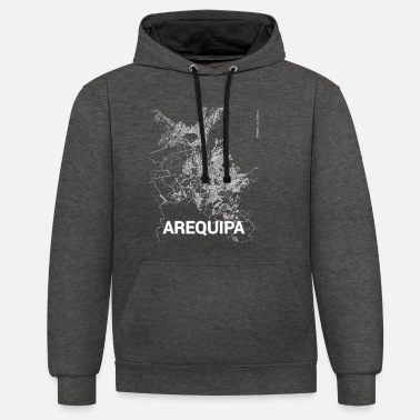 Arequipa Arequipa city map and streets - Unisex Contrast Hoodie