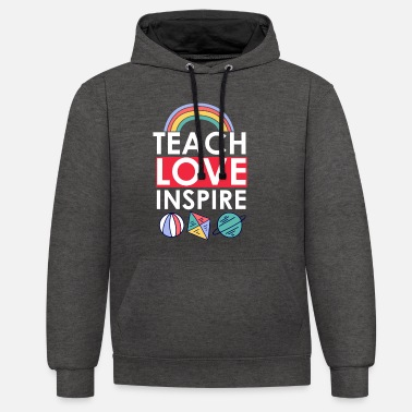 Kindergaten Teacher Teach love inspire Preschool Teacher - Unisex Hoodie zweifarbig