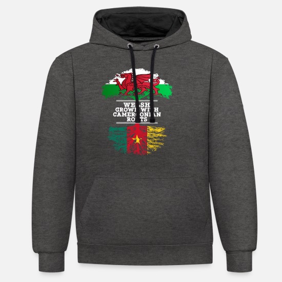 Country Hoodies & Sweatshirts - Welsh Grown With Cameroonian Roots - Unisex Contrast Hoodie charcoal/black