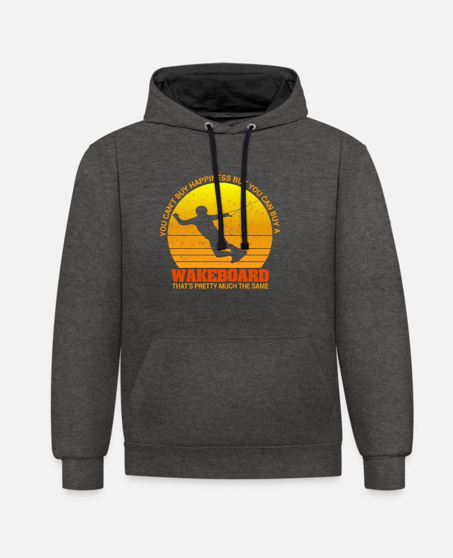 Aquatics Hoodies & Sweatshirts - You can t buy Happiness but can buy a wakeboard - Unisex Contrast Hoodie charcoal/black