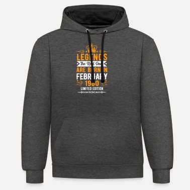 February 1960 - 60th birthday Funny gift - Unisex Contrast Hoodie