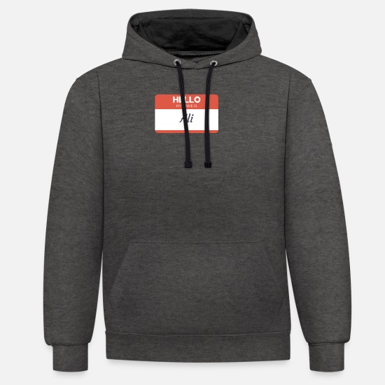 Name Badge Hoodies & Sweatshirts - My Name Is Ali - Unisex Contrast Hoodie charcoal/black