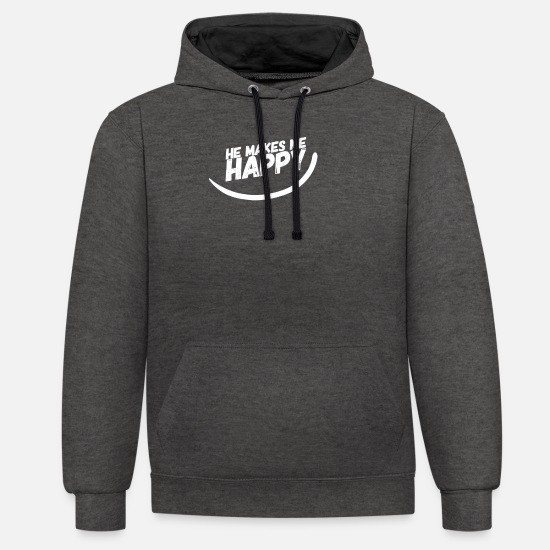 Love Hoodies & Sweatshirts - HE MAKES ME HAPPY :) - Unisex Contrast Hoodie charcoal/black
