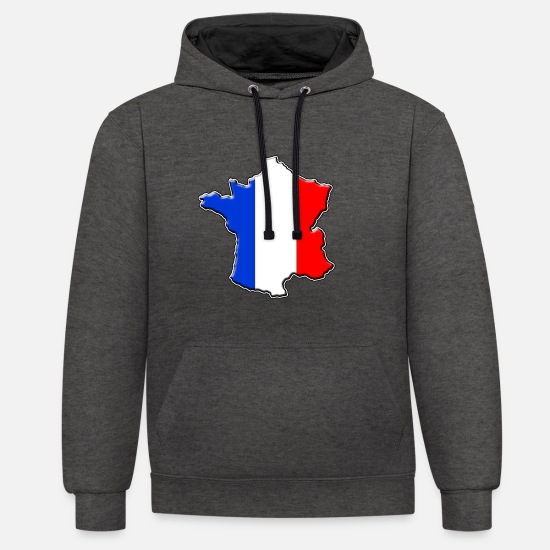 Travel Hoodies & Sweatshirts - France France flag map - Unisex Contrast Hoodie charcoal/black
