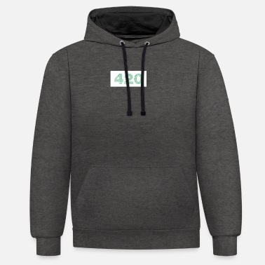 420 boxed leaves green - Unisex Contrast Hoodie