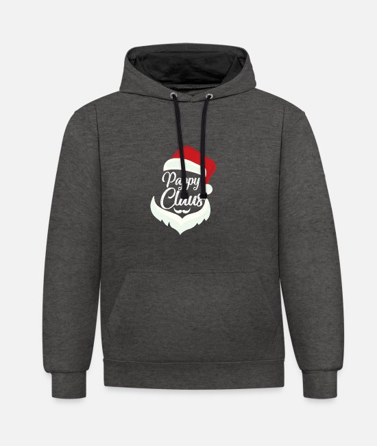 Father's Day Hoodies & Sweatshirts - Pappy Claus Christmas Pajamas Santa Costume - Unisex Contrast Hoodie charcoal/black