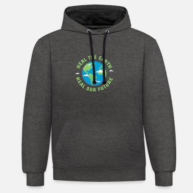 Healing Heal the earth heal our future - Unisex Contrast Hoodie