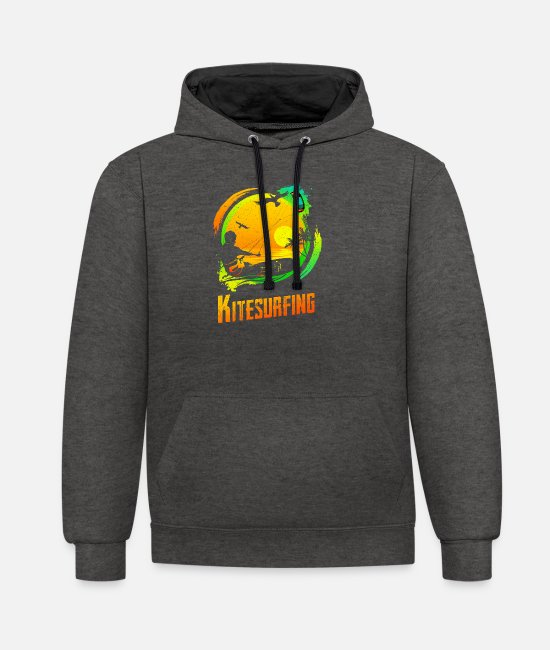 Water Hoodies & Sweatshirts - Vintage KITE Surfer Kiting Kiteboarding Retro Kites - Unisex Contrast Hoodie charcoal/black