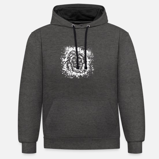 Wild Cat Hoodies & Sweatshirts - Lion Splash Animalis Ink Blot - Unisex Contrast Hoodie charcoal/black