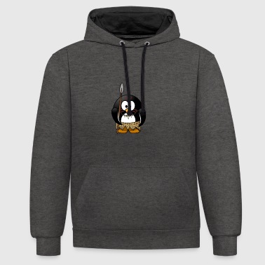 Native penguin in the stone age - Contrast Colour Hoodie