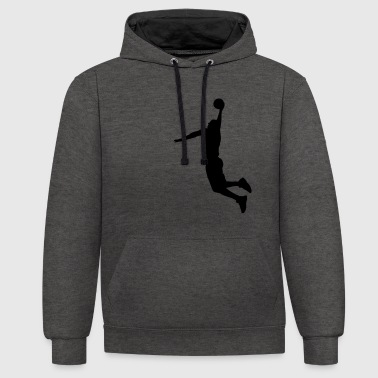 Basketball Player Slam Dunk - Kontrast-Hoodie