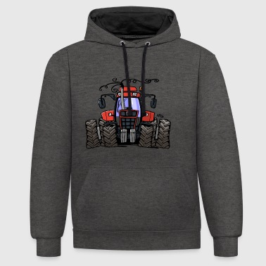 0251 Red tractor 1255 - Contrast Colour Hoodie