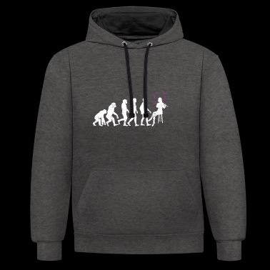 Flute evolution development gift musician music - Contrast Colour Hoodie