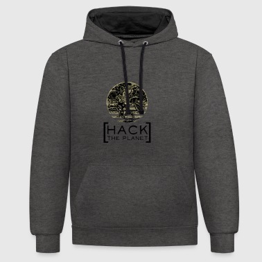 Hack the planet Motto T-Shirt Camouflage - Kontrast-Hoodie