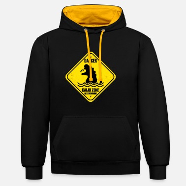 Danger by kaiju (giant monsters) - Contrast Colour Hoodie
