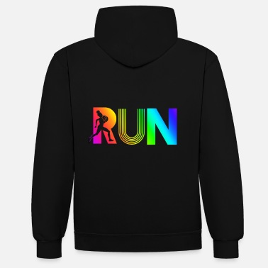 Running run rainbow running athletic - Unisex Contrast Hoodie