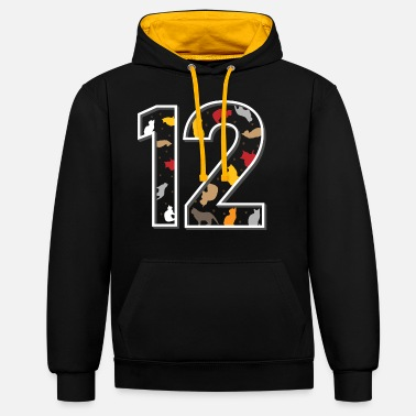 Boy 12. Twelfth birthday cats twelve year gift - Unisex Contrast Hoodie