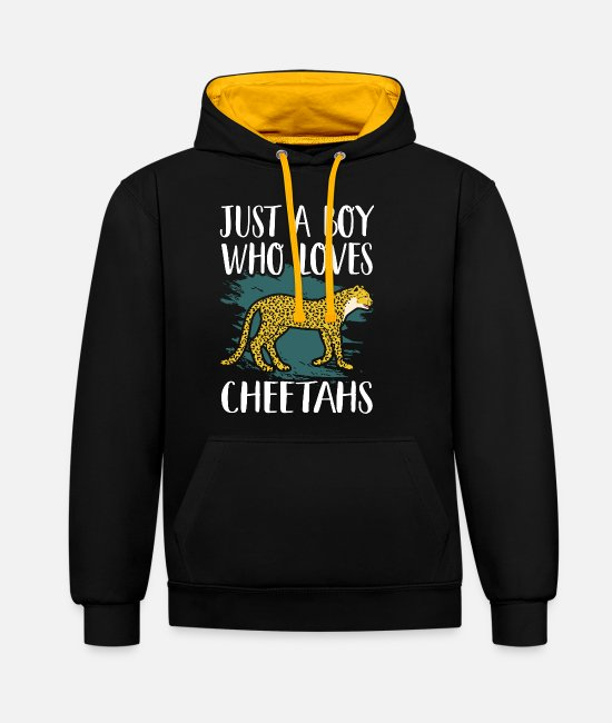 Animal Hoodies & Sweatshirts - cheetah - Unisex Contrast Hoodie black/gold
