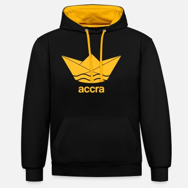 Accra Cool Accra paper ship design Ghana - Unisex Contrast Hoodie