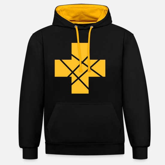 Symbol  Hoodies & Sweatshirts - Cross Plus grid - Unisex Contrast Hoodie black/gold