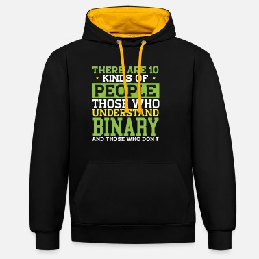 Binary Funny Programming Code Programmer - Unisex Contrast Hoodie