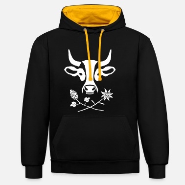 ALMSPEZL COW WHITE - Unisex Contrast Hoodie