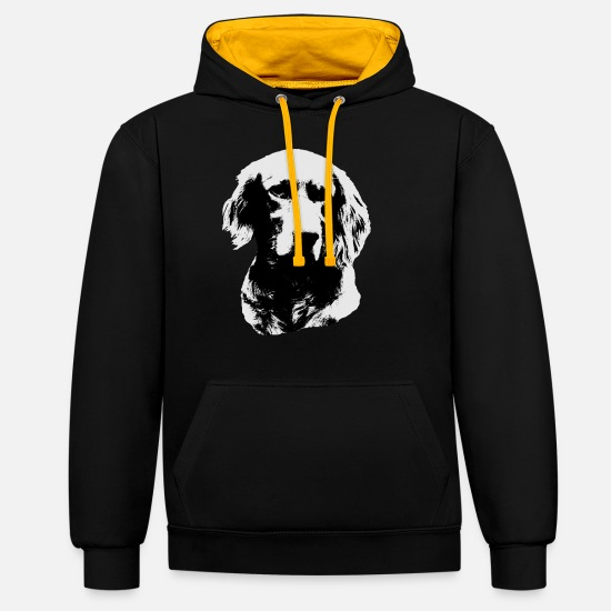 Dog Head Hoodies & Sweatshirts - Setter, dog, dog , dog's head, - Unisex Contrast Hoodie black/gold