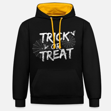 Trick Or Treat Halloween Sweet or Sour 31 October Gift - Unisex Contrast Hoodie