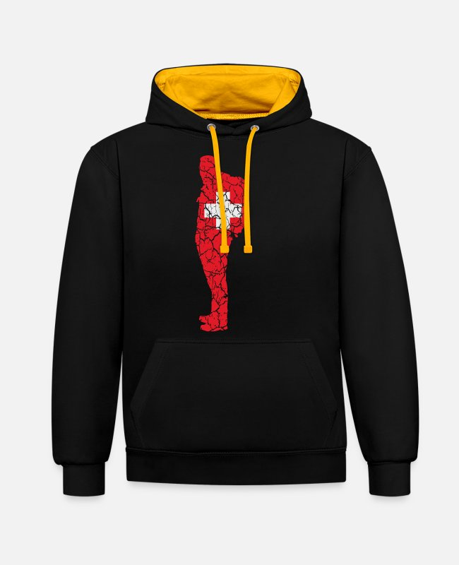 Backpacking Hoodies & Sweatshirts - Switzerland flag Wanderer Schwiz Suisse CH gift - Unisex Contrast Hoodie black/gold