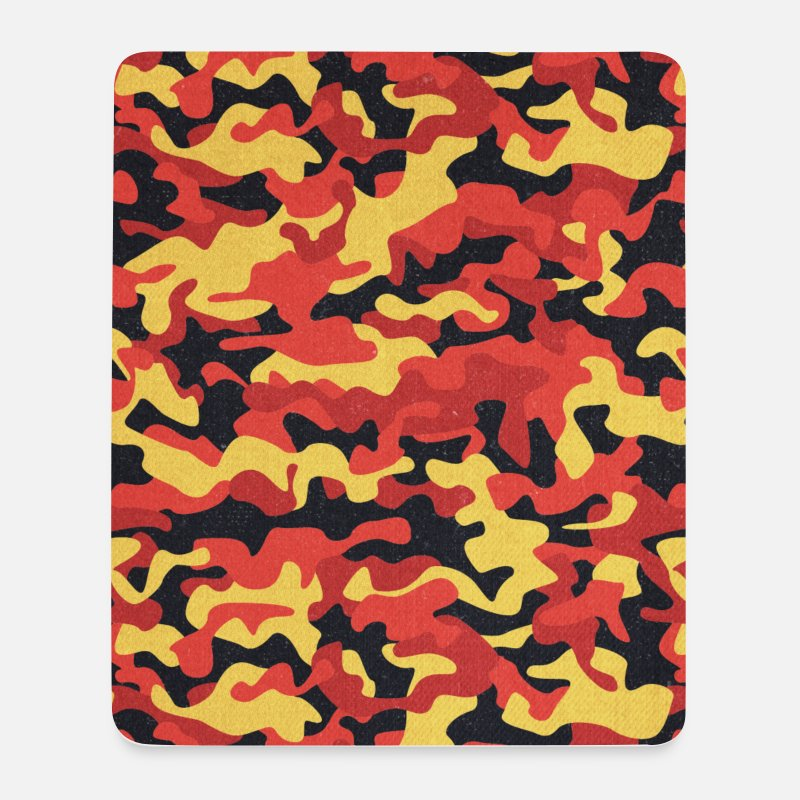 Mimetica Tappetini mouse  - Camouflage Pattern in Red Black Yellow  - Tappetino mouse bianco