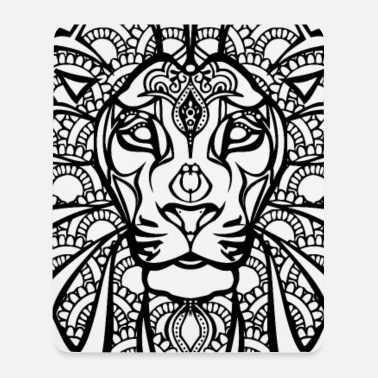 Black And White Collection Henna lion - Tapis de souris (format portrait)