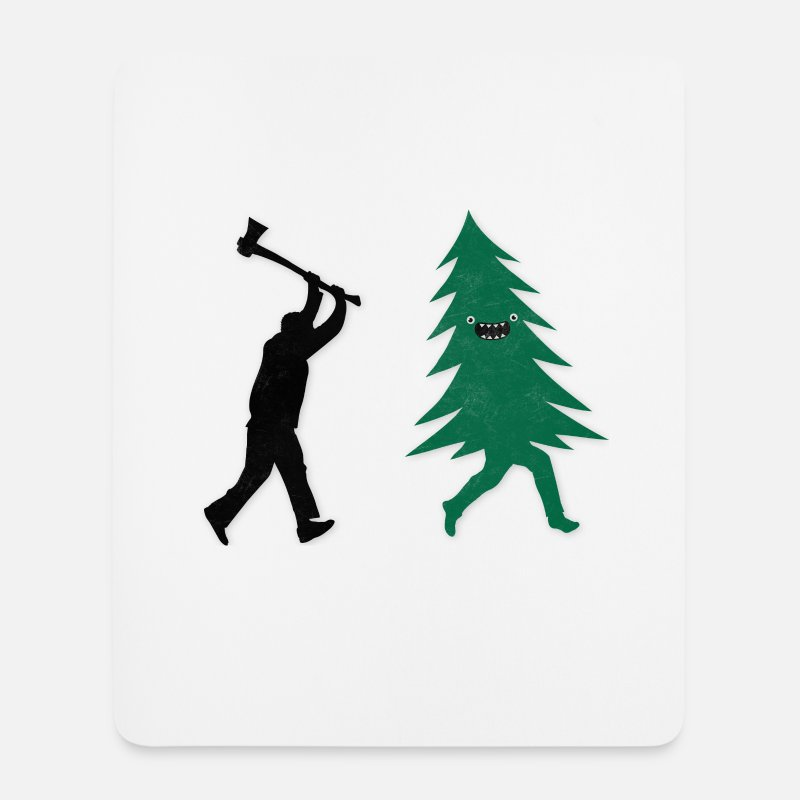 Humor Muismatjes  - Funny Christmas Tree Hunted by lumberjack Humor - Muismat wit