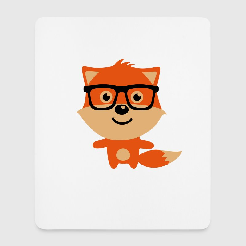 Cute & Funny Hipster Baby fox with nerd glasses - Musematte (stående format)