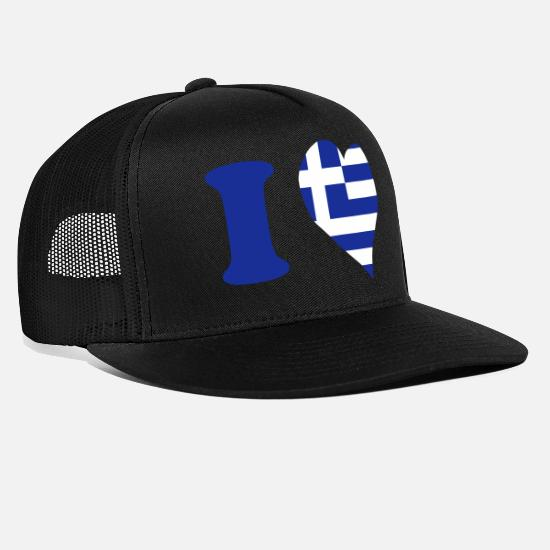 Love Kasketter & huer - I love Greece - Jeg elsker Grækenland - Trucker cap sort/sort