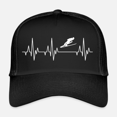 Ski Jumping Heartbeat ECG Ski Long Jump Ski Flying Ski Jumping - Trucker Cap