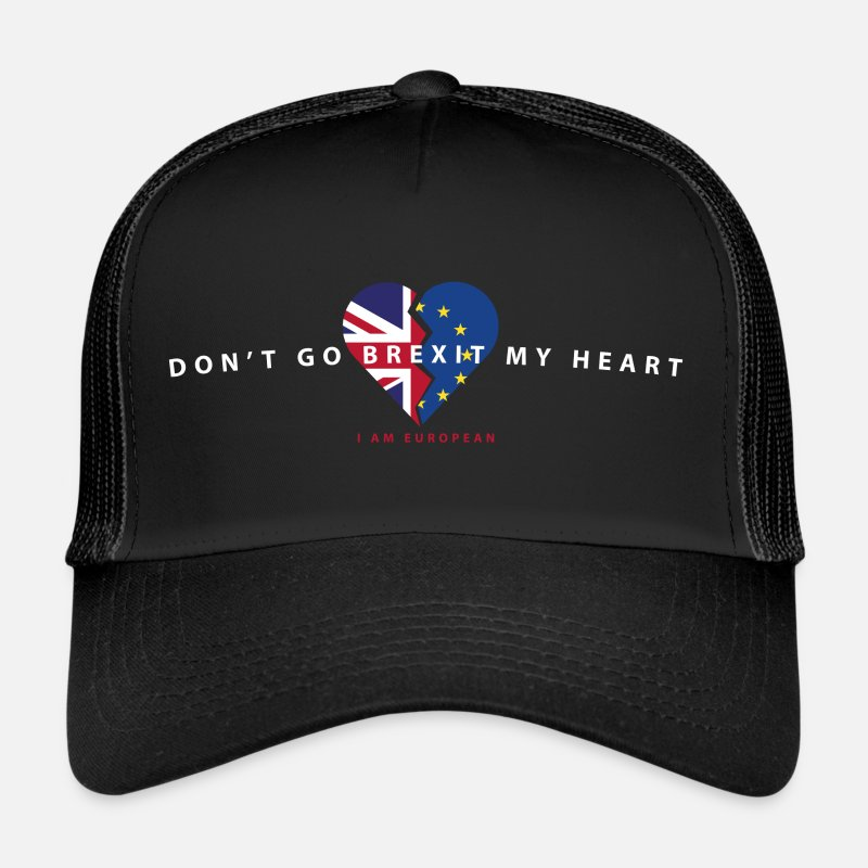 Brexit Caps & Hats - DON'T GO BREXIT MY HEART - Trucker Cap black/black