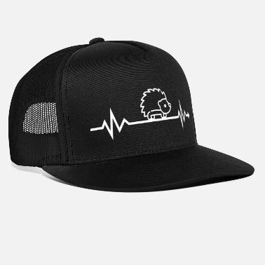 Heartbeat hedgehog spines sting gift cute animal - Trucker Cap